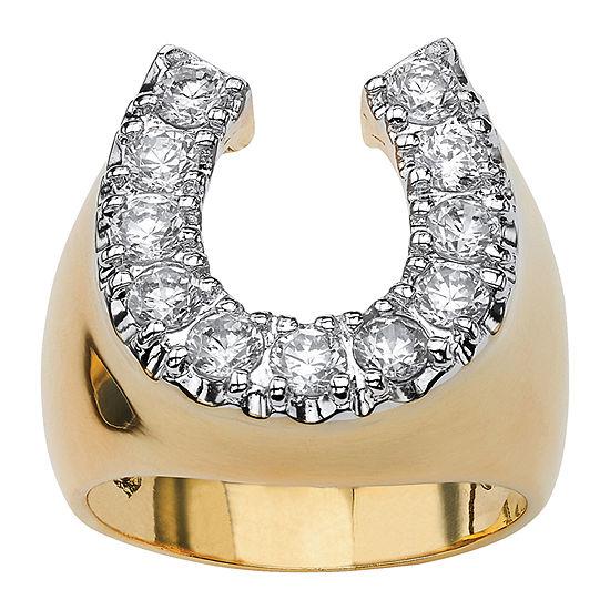Diamonart Mens 1 1/10 CT. T.W.  White Cubic Zirconia 18K Gold Over Brass Round Fashion Ring