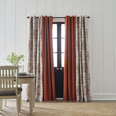 JCPenney Home Wallace Medallion Energy Saving Blackout Grommet-Top Single Curtain Panel