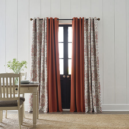 JCPenney Home Wallace Medallion Energy Saving Blackout Grommet-Top Single Curtain Panel, One Size , Orange