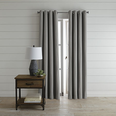 JCPenney Home Wallace Blackout Grommet-Top Single Curtain Panel, One Size , Gray