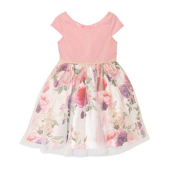 Nannette Baby Toddler Girls Short Sleeve Cap Sleeve Party Dress