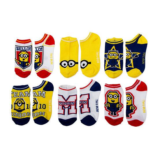 Little Kid / Big Kid Boys 6 Pair Minons No Show Socks
