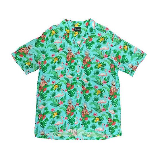 Mens Short Sleeve Button-Front Shirt