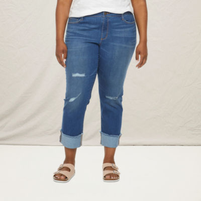 a.n.a - Plus Womens Ripped Straight Jean