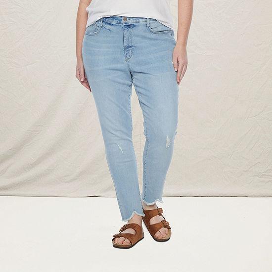 a.n.a-Plus Womens High Rise Ripped Skinny Jean