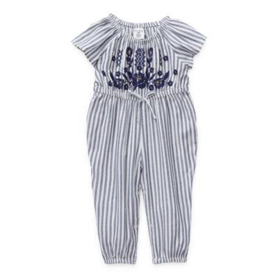 Okie Dokie - Baby Girls Embroidered Jumpsuit