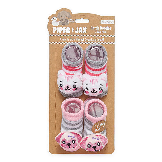 Piper & Jax Rattle 0-12 Months-Baby Girls 2 Pair Baby Booties