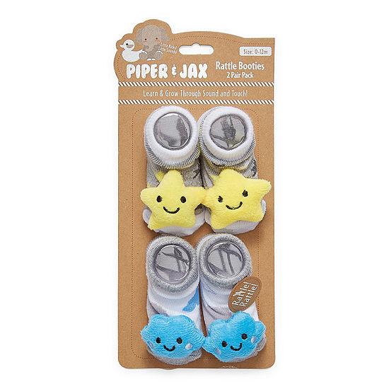 Piper & Jax Rattle 0-12 Months-Baby Boys 2 Pair Baby Booties