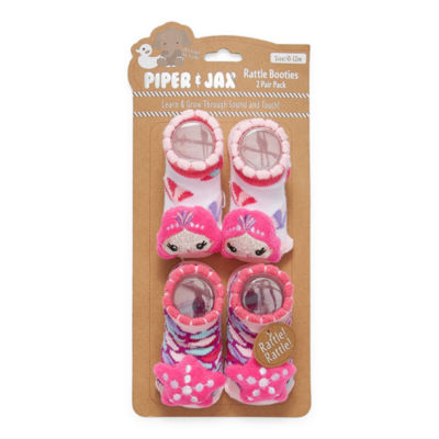Piper & Jax Rattle 0-12 Months 2 Pair Baby Booties Girls-Baby