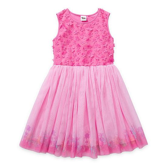 Trolls - Little Kid / Big Kid Girls Embellished Sleeveless Trolls Tutu Dress