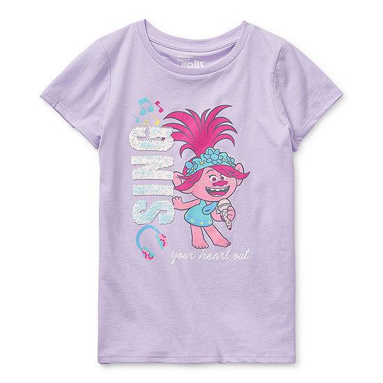 Trolls - Little Kid / Big Kid Girls Round Neck Short Sleeve Graphic T-Shirt