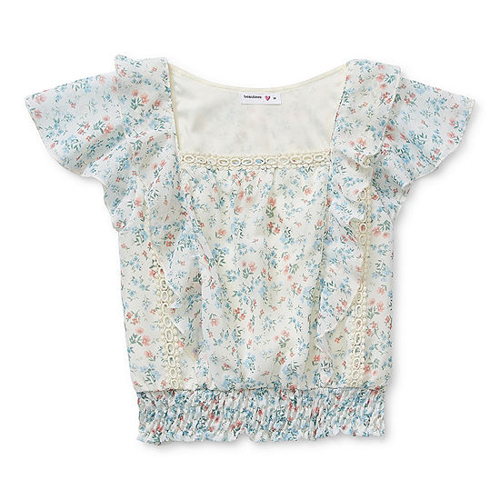Beautees Big Kid Girls Square Neck Short Sleeve Lace Trim Blouse