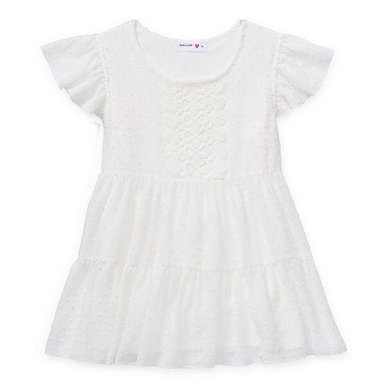 Beautees Big Girls Scoop Neck Short Sleeve Lace Trim Blouse