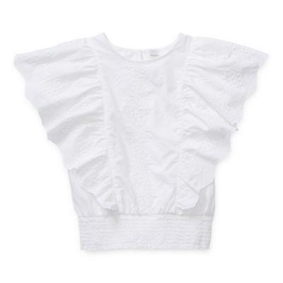 Arizona Little Kid / Big Kid Girls Round Neck Short Sleeve Blouse