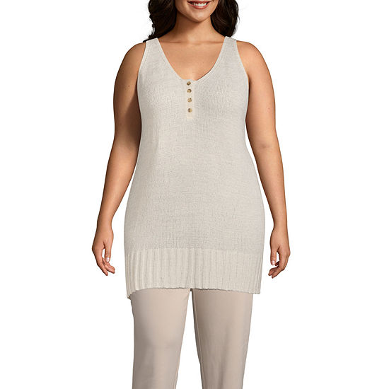 Worthington Womens U Neck Tank Top - Plus