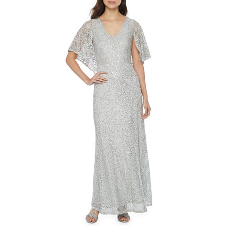 1930s Evening Dresses | Old Hollywood Silver Screen Dresses Blu Sage Short Sleeve Sequin Lace Evening Gown 6  Silver $41.99 AT vintagedancer.com