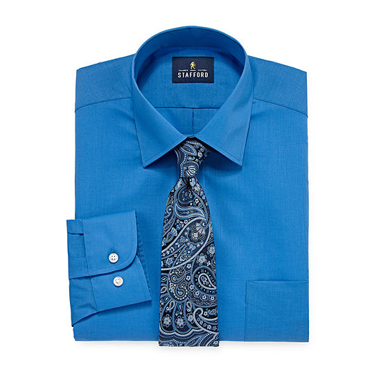 Stafford Mens Spread Collar Long Sleeve Stretch Shirt + Tie Set