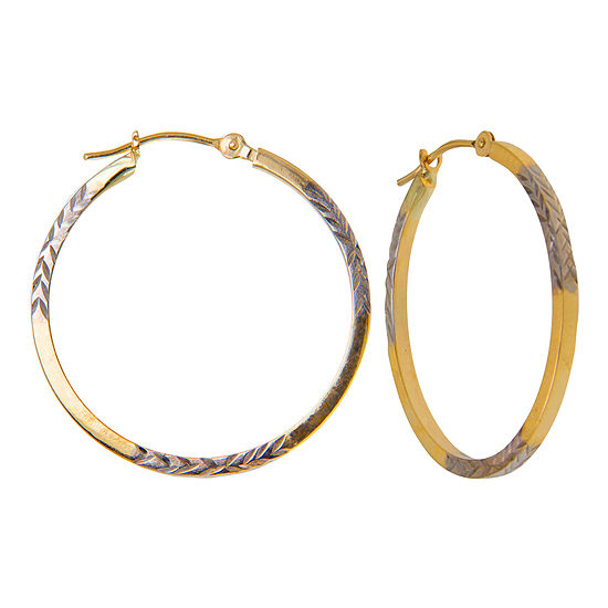 Diamond Cut Hoop Earrings 2 Tone 10k Gold