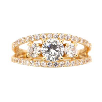 Sparkle Allure Womens Lab Created Clear Silver Over Brass 3-Stone Ring