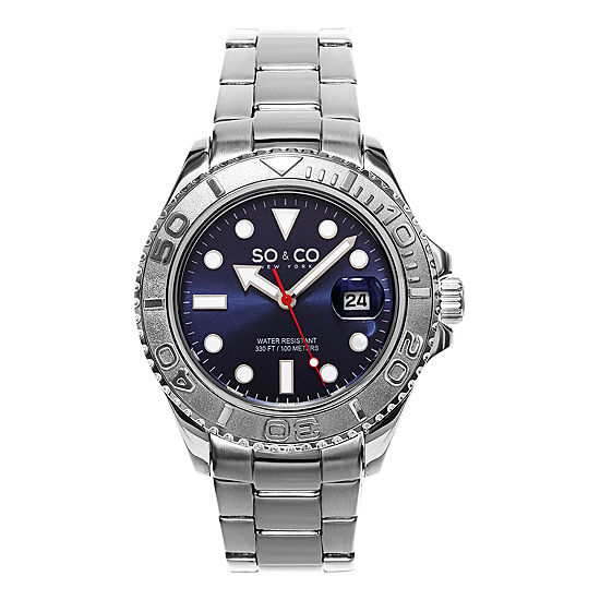 So & Co Mens Multi-Function Silver Tone Stainless Steel Bracelet Watch-Jp15474
