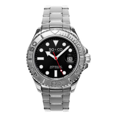 So & Co Mens Multi-Function Silver Tone Stainless Steel Bracelet Watch-Jp15475