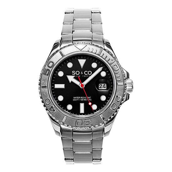 So & Co Mens Multi-Function Silver Tone Stainless Steel Bracelet Watch-Jp15475