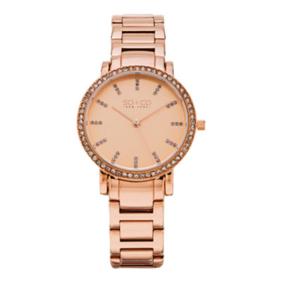 So & Co Womens Rose Goldtone Stainless Steel Bracelet Watch-Jp15529