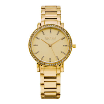 So & Co Womens Gold Tone Stainless Steel Bracelet Watch-Jp15530
