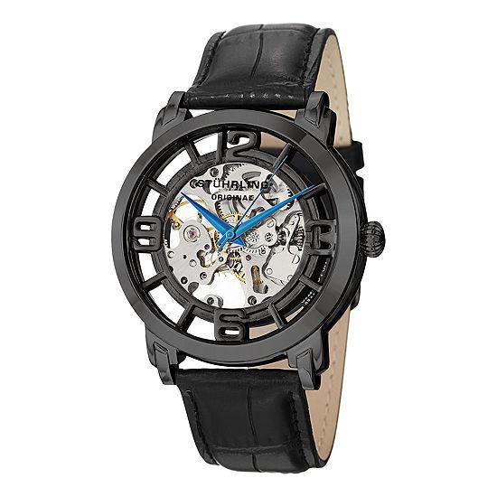 Stuhrling Mens Black Leather Strap Watch-Sp11337