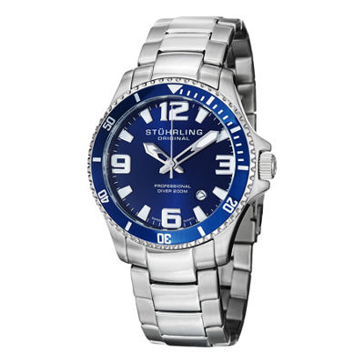 Stuhrling Mens Silver Tone Bracelet Watch-Sp12723