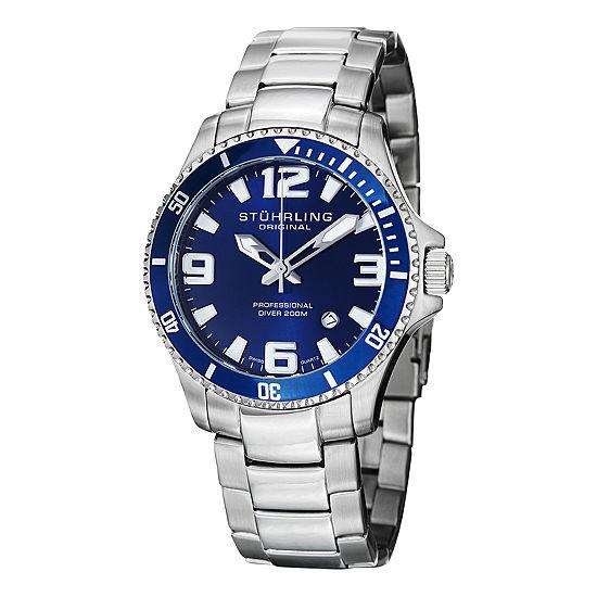 Stuhrling Mens Multi-Function Silver Tone Stainless Steel Bracelet Watch-Sp12723