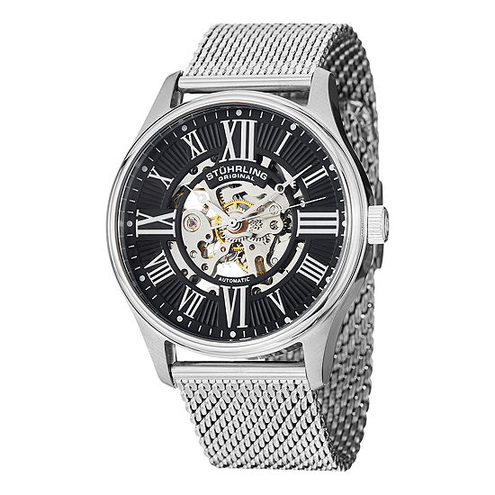 Stuhrling Mens Automatic Silver Tone Stainless Steel Bracelet Watch-Sp13063