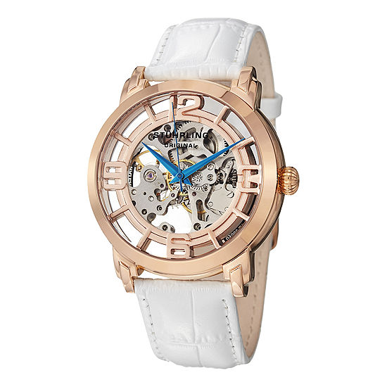 Stuhrling Womens White Leather Strap Watch-Sp12896