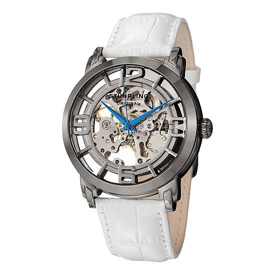 Stuhrling Womens White Leather Strap Watch-Sp12898