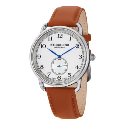 Stuhrling Mens Brown Strap Watch-Sp12921