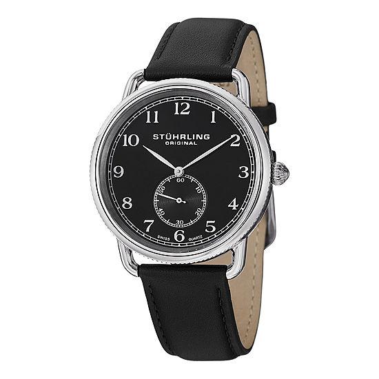 Stuhrling Black Leather Strap Watch-Sp12922