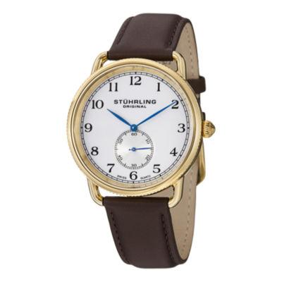 Stuhrling Mens Brown Strap Watch-Sp12923