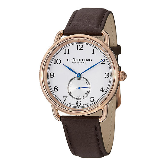 Stuhrling Mens Brown Leather Strap Watch-Sp12924