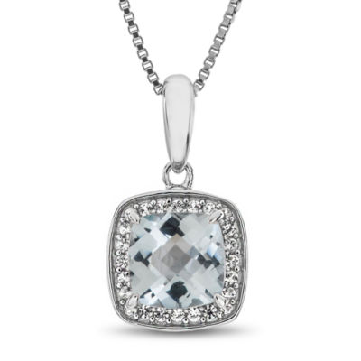 Womens Genuine Aquamarine Pendant Necklace