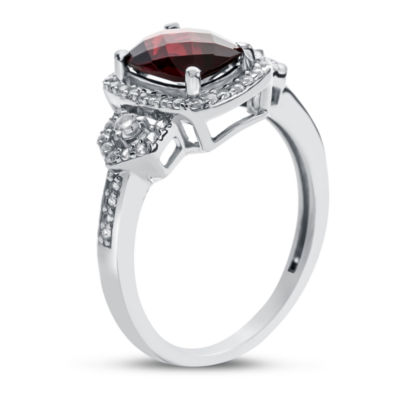 Womens Genuine Brown Garnet Cocktail Ring