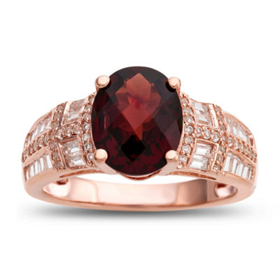 Womens Genuine Brown Garnet 14K Gold Over Silver Cocktail Ring