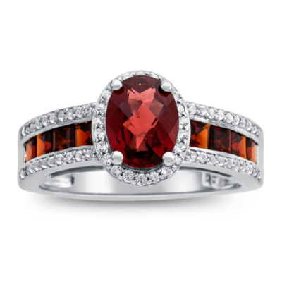 Womens Genuine Brown Garnet Sterling Silver Cocktail Ring