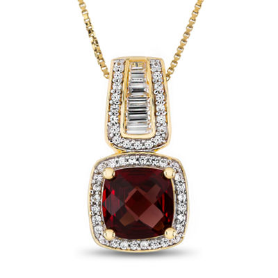 Womens Genuine Red Garnet 14K Gold Over Silver Pendant Necklace