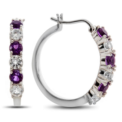 Genuine Purple Amethyst Sterling Silver 19mm Hoop Earrings