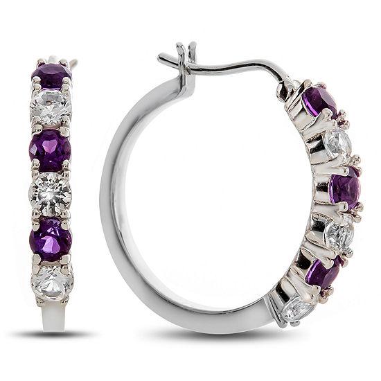 Genuine Purple Amethyst Sterling Silver 19mm Hoop Earrings