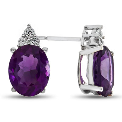Oval Genuine Amethyst & Lab-Created White Sapphire Sterling Silver Stud Earrings