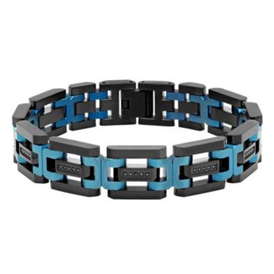Mens 8.5 Inch Black Cubic Zirconia Stainless Steel Link Bracelet