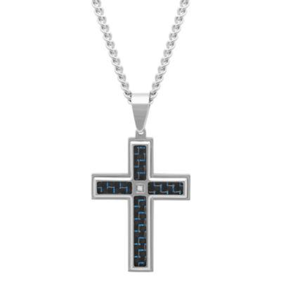 Mens Diamond Accent Stainless Steel Carbon Fiber Cross Pendant Necklace
