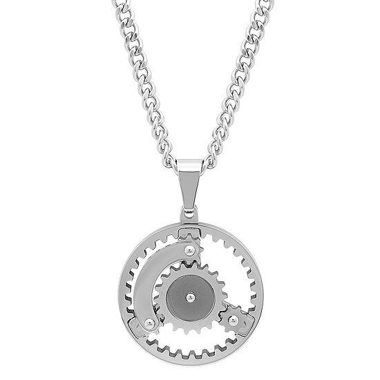 Mens Stainless Steel Gear Pendant Necklace