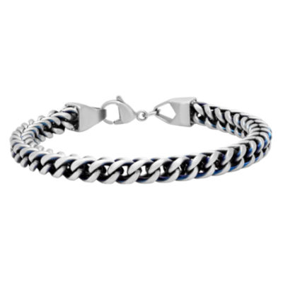 Mens 8.5 Inch Stainless Steel Blue IP Finish Chain Bracelet